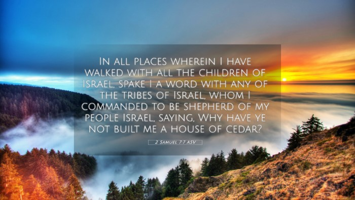 Picture 05 - 2 Samuel 7:7 ASV 4K Wallpaper - In all places wherein I have walked with all the - 4K Wallpaper Bible Verse