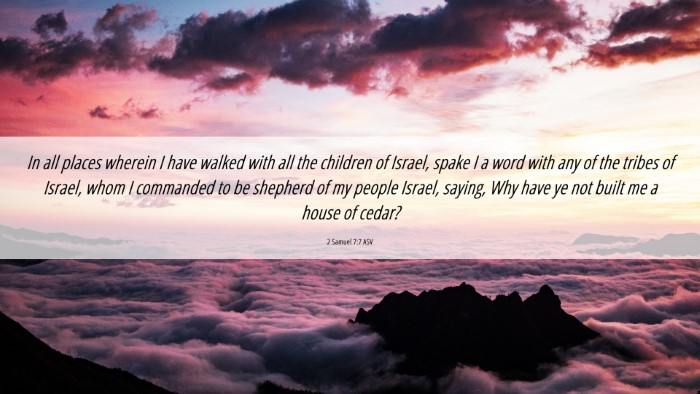 Picture 06 - 2 Samuel 7:7 ASV 4K Wallpaper - In all places wherein I have walked with all the - 4K Wallpaper Bible Verse