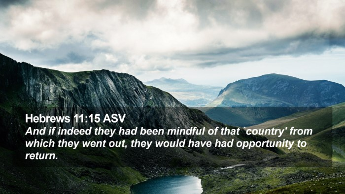 Hebrews 11:15 ASV Desktop Wallpaper - And if indeed they had been mindful of that - Desktop Bible Verse Wallpaper