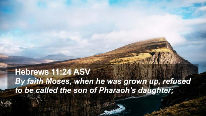 Hebrews 11:24 ASV Desktop Wallpaper - By faith Moses, when he was grown up, refused to - Desktop Bible Verse Wallpaper