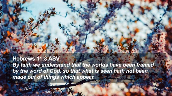 Hebrews 11:3 ASV Desktop Wallpaper - By faith we understand that the worlds have been - Desktop Bible Verse Wallpaper