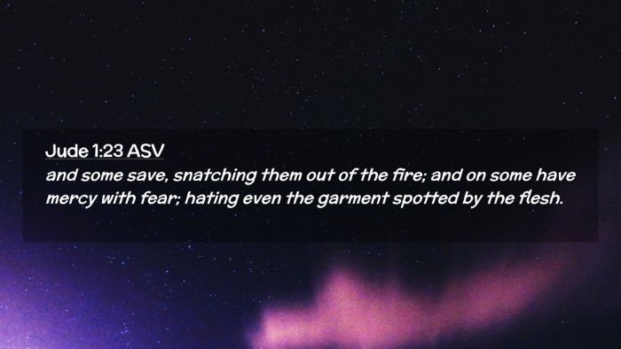 Picture 02 - Jude 1:23 ASV Desktop Wallpaper - and some save, snatching them out of the fire; - Desktop Bible Verse Wallpaper
