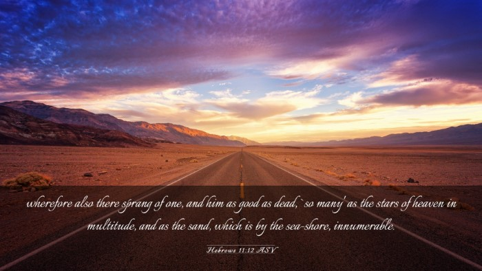 Picture 03 - Hebrews 11:12 ASV Desktop Wallpaper - wherefore also there sprang of one, and him as - Desktop Bible Verse Wallpaper