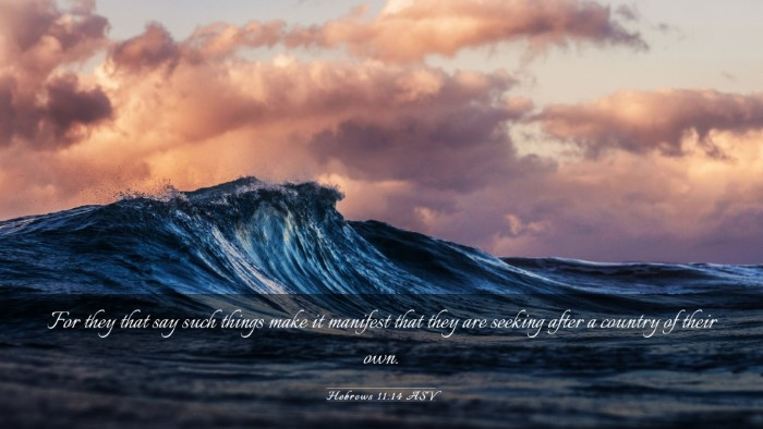 Picture 03 - Hebrews 11:14 ASV Desktop Wallpaper - For they that say such things make it manifest - Desktop Bible Verse Wallpaper