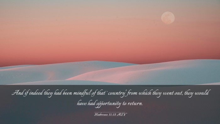 Picture 03 - Hebrews 11:15 ASV Desktop Wallpaper - And if indeed they had been mindful of that - Desktop Bible Verse Wallpaper