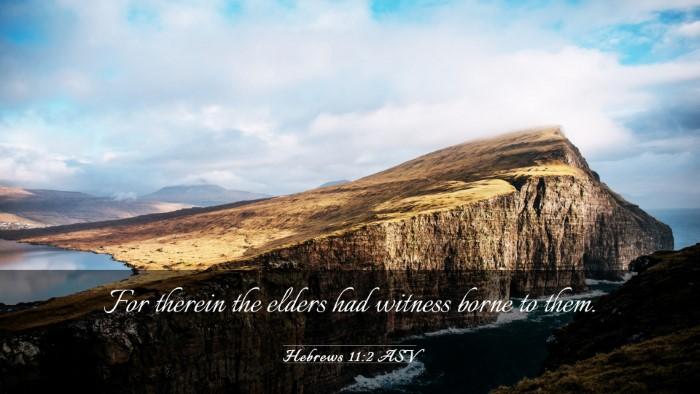 Picture 03 - Hebrews 11:2 ASV Desktop Wallpaper - For therein the elders had witness borne to - Desktop Bible Verse Wallpaper