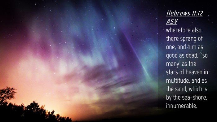 Picture 04 - Hebrews 11:12 ASV Desktop Wallpaper - wherefore also there sprang of one, and him as - Desktop Bible Verse Wallpaper