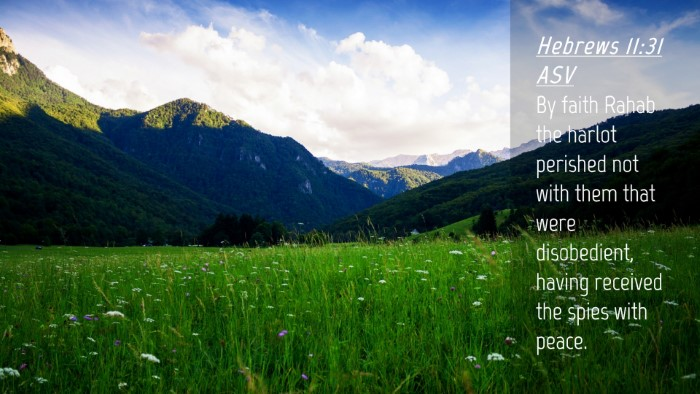 Picture 04 - Hebrews 11:31 ASV Desktop Wallpaper - By faith Rahab the harlot perished not with them - Desktop Bible Verse Wallpaper