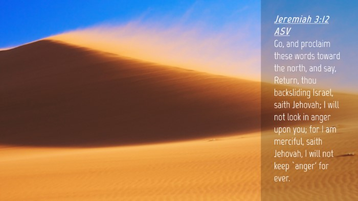 Picture 04 - Jeremiah 3:12 ASV Desktop Wallpaper - Go, and proclaim these words toward the north, - Desktop Bible Verse Wallpaper