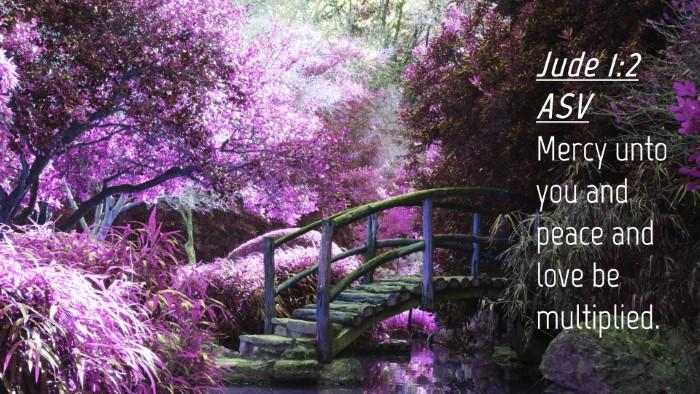Picture 04 - Jude 1:2 ASV Desktop Wallpaper - Mercy unto you and peace and love be - Desktop Bible Verse Wallpaper