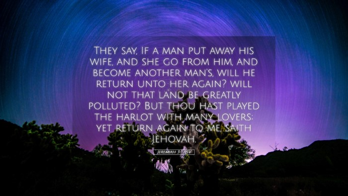 Picture 05 - Jeremiah 3:1 ASV Desktop Wallpaper - They say, If a man put away his wife, and she go - Desktop Bible Verse Wallpaper
