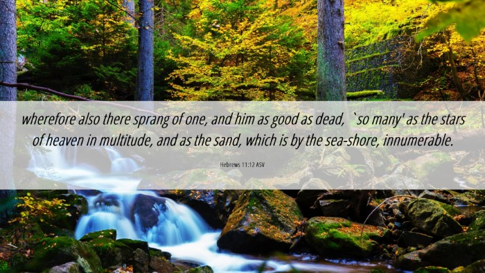 Picture 06 - Hebrews 11:12 ASV Desktop Wallpaper - wherefore also there sprang of one, and him as - Desktop Bible Verse Wallpaper