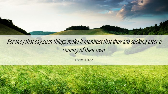 Picture 06 - Hebrews 11:14 ASV Desktop Wallpaper - For they that say such things make it manifest - Desktop Bible Verse Wallpaper