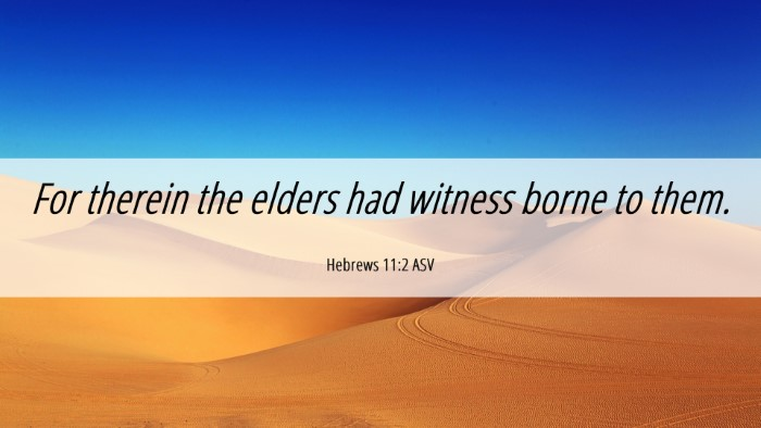 Picture 06 - Hebrews 11:2 ASV Desktop Wallpaper - For therein the elders had witness borne to - Desktop Bible Verse Wallpaper