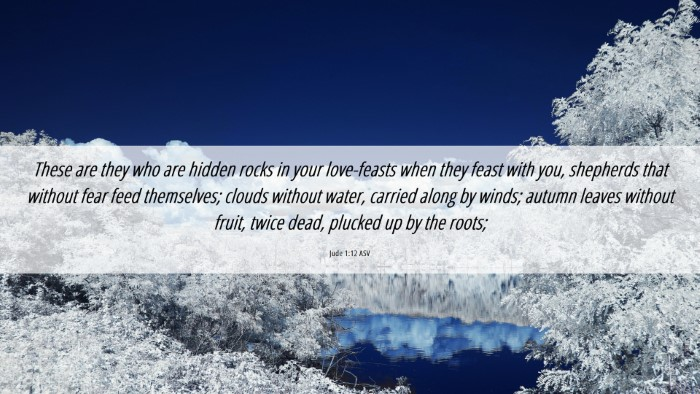 Picture 06 - Jude 1:12 ASV Desktop Wallpaper - These are they who are hidden rocks in your - Desktop Bible Verse Wallpaper