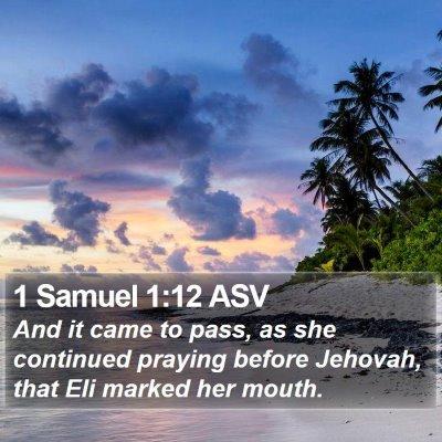 1 Samuel 1:12 ASV Bible Verse Image