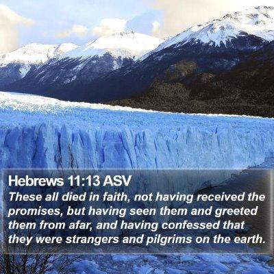 Hebrews 11:13 ASV Bible Verse Image