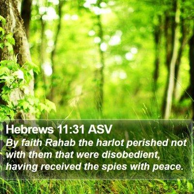 Hebrews 11:31 ASV Bible Verse Image