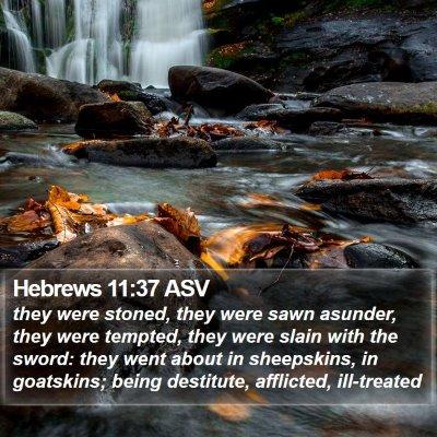 Hebrews 11:37 ASV Bible Verse Image