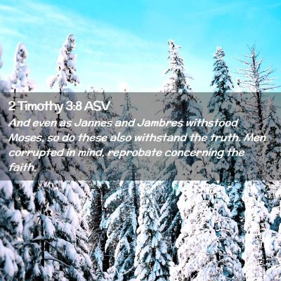 Picture 02 - 2 Timothy 3:8 ASV - And even as Jannes and Jambres withstood Moses, - Bible Verse Picture