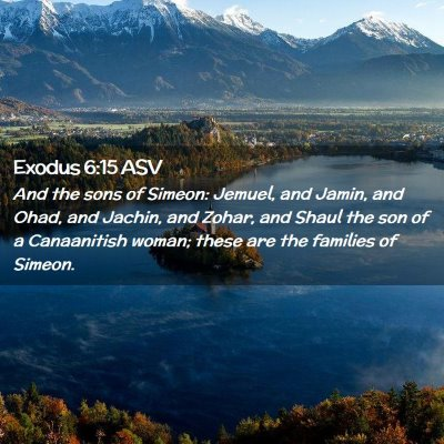 Picture 02 - Exodus 6:15 ASV - And the sons of Simeon: Jemuel, and Jamin, and - Bible Verse Picture