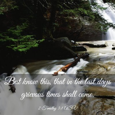 Picture 03 - 2 Timothy 3:1 ASV - But know this, that in the last days grievous - Bible Verse Picture