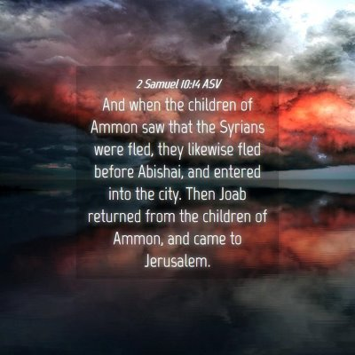 Picture 04 - 2 Samuel 10:14 ASV - And when the children of Ammon saw that the - Bible Verse Picture