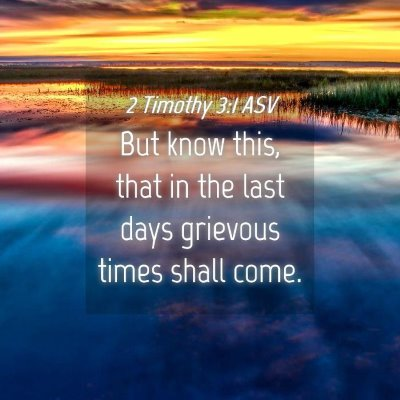 Picture 04 - 2 Timothy 3:1 ASV - But know this, that in the last days grievous - Bible Verse Picture