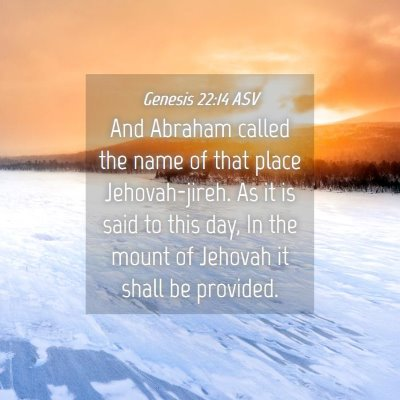 Picture 04 - Genesis 22:14 ASV - And Abraham called the name of that place - Bible Verse Picture