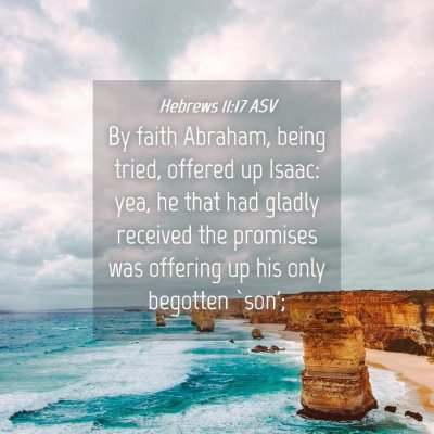 Picture 04 - Hebrews 11:17 ASV - By faith Abraham, being tried, offered up Isaac: - Bible Verse Picture