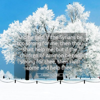 Picture 05 - 2 Samuel 10:11 ASV - And he said, If the Syrians be too strong for me, - Bible Verse Picture