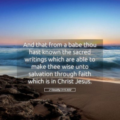 Picture 05 - 2 Timothy 3:15 ASV - And that from a babe thou hast known the sacred - Bible Verse Picture