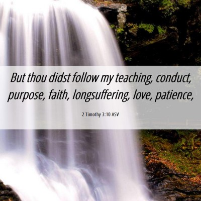 Picture 06 - 2 Timothy 3:10 ASV - But thou didst follow my teaching, conduct, - Bible Verse Picture