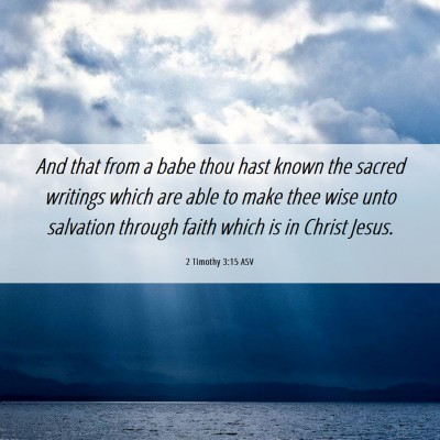 Picture 06 - 2 Timothy 3:15 ASV - And that from a babe thou hast known the sacred - Bible Verse Picture