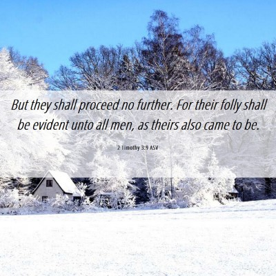 Picture 06 - 2 Timothy 3:9 ASV - But they shall proceed no further. For their - Bible Verse Picture