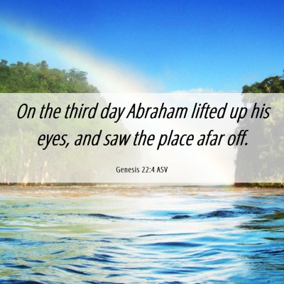 Picture 06 - Genesis 22:4 ASV - On the third day Abraham lifted up his eyes, and - Bible Verse Picture