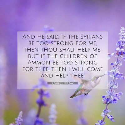 Picture 07 - 2 Samuel 10:11 ASV - And he said, If the Syrians be too strong for me, - Bible Verse Picture