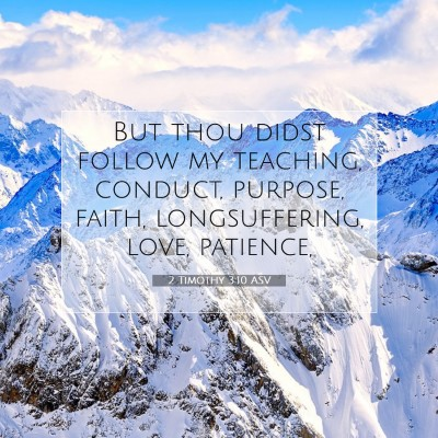 Picture 07 - 2 Timothy 3:10 ASV - But thou didst follow my teaching, conduct, - Bible Verse Picture