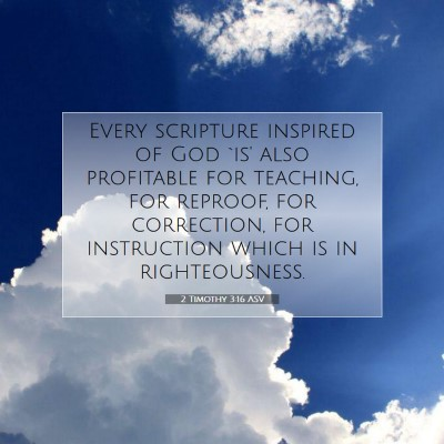 Picture 07 - 2 Timothy 3:16 ASV - Every scripture inspired of God `is' also - Bible Verse Picture