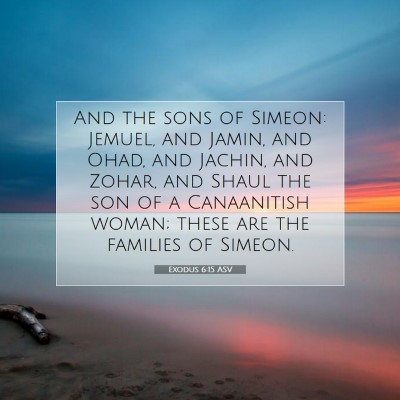 Picture 07 - Exodus 6:15 ASV - And the sons of Simeon: Jemuel, and Jamin, and - Bible Verse Picture