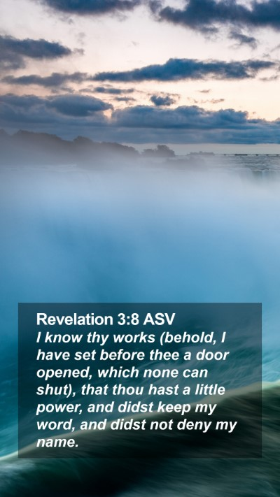 Revelation 3:8 ASV Mobile Phone Wallpaper - I know thy works (behold, I have set before thee - Mobile Bible Verse Wallpaper
