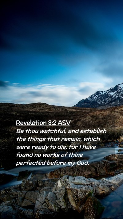 Picture 02 - Revelation 3:2 ASV Mobile Phone Wallpaper - Be thou watchful, and establish the things that - Mobile Bible Verse Wallpaper
