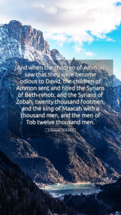 Picture 05 - 2 Samuel 10:6 ASV Mobile Phone Wallpaper - And when the children of Ammon saw that they were - Mobile Bible Verse Wallpaper