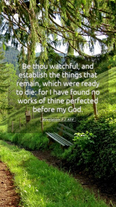 Picture 05 - Revelation 3:2 ASV Mobile Phone Wallpaper - Be thou watchful, and establish the things that - Mobile Bible Verse Wallpaper