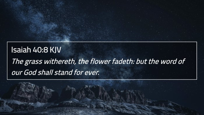 Isaiah 40:8 KJV 4K Wallpaper - The grass withereth, the flower fadeth: but the word of our God shall stand for ever. - 4K Bible Verse Wallpaper