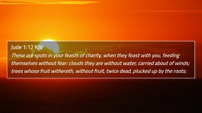 Jude 1:12 KJV 4K Wallpaper - These are spots in your feasts of charity, when - 4K Wallpaper Bible Verse