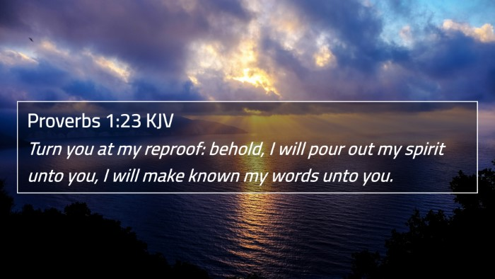 Proverbs 1:23 KJV 4K Wallpaper - Turn you at my reproof: behold, I will pour out - 4K Wallpaper Bible Verse