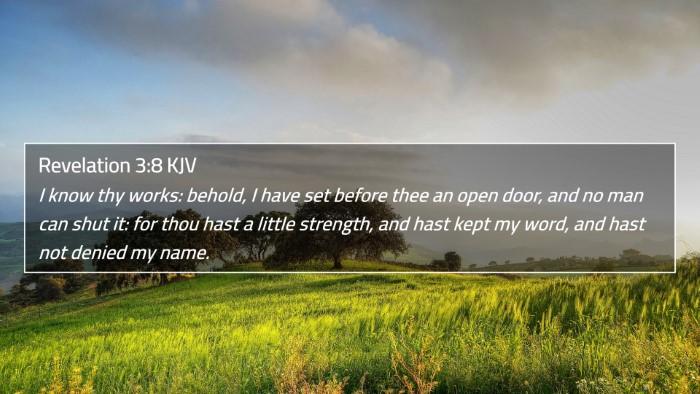 Revelation 3:8 KJV 4K Wallpaper - I know thy works: behold, I have set before thee - 4K Wallpaper Bible Verse