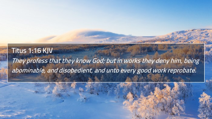 Titus 1:16 KJV 4K Wallpaper - They profess that they know God; but in works - 4K Wallpaper Bible Verse