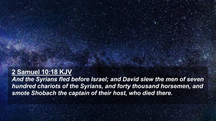 Picture 02 - 2 Samuel 10:18 KJV 4K Wallpaper - And the Syrians fled before Israel; and David - 4K Wallpaper Bible Verse